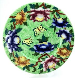 Antique-Maling-Flowers-Butterflies-England-Floral-Art-Deco-Plate-11-25-inch-H474