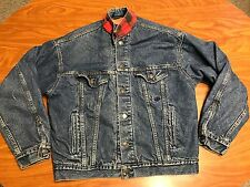 MENS VINTAGE LEVI'S RED TAB BUFFALO FLANNEL LINED DENIM JEAN JACKET SIZE MEDIUM