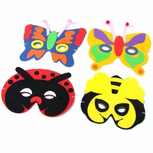 Childrens Fancy Dress Masks Pack of 4 Foam Insect Animal Masks