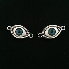 DIY Vintage 2pcs Tibet silver cat's eye Charm Pendant beaded Jewelry Findings