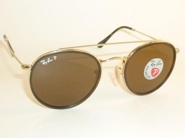 Ray-Ban RB 3647n 001 57 Round Double Bridge Gold Brown Polarized Sunglasses 0a32b3c01bdf