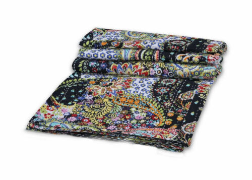 Indian Handmade Paisley Twin//Queen Kantha Quilt Throw Reversible Bedspread