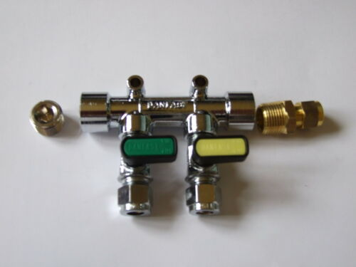 8mm Gas Manifold 2 tap 8mm straight inlet and plug.