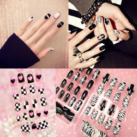 New Black&White French False Nails Nail Art Design Nail Tips With Glue 24pc/Pack