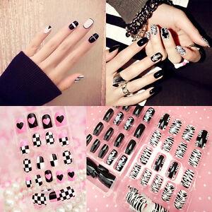 New Blackwhite French False Nails Nail Art Design Nail Tips With