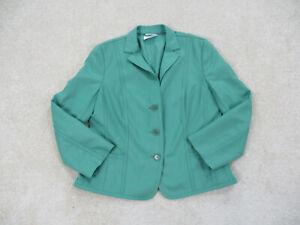 AKRIS Punto Blazer Womens Size 8 Green Wool Coat Jacket Office Casual Ladies