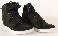 Womens Bamboo Camoflage Wedge High-Heeled Sneakers w/Glittered Trim, Size 7M