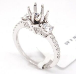 18k White Gold SI1,G 0.74tcw Three Stone Engagement Accent Semi Mount Ring 7