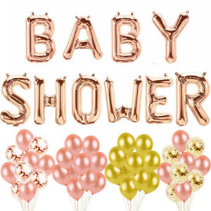 Baby Shower Letter Balloons.Details About 16 Baby Shower Foil Letter Balloons Christening Party Bunting Banner Rose Gold