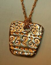 Handsome Etch Swirls Raised Beading Rhombus Goldtone Pendant Necklace
