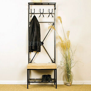 12 Hook Metal Hat Bag Coat Rack Stand Entryway Hall Tree