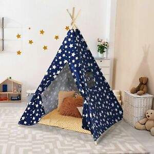 Large-Premium-Cotton-Kids-Teepee-Play-Tent-Wigwam-Indoor-Outdoor-Play-House
