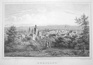GERMANY-View-of-Arnstadt-1860-Original-Engraving-Antique-Print