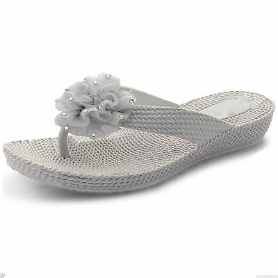 Señoras para mujer Nuevo Flip Flop Suave Flor Sandalias Diamante Playa Zapatos Tamaños 3-8