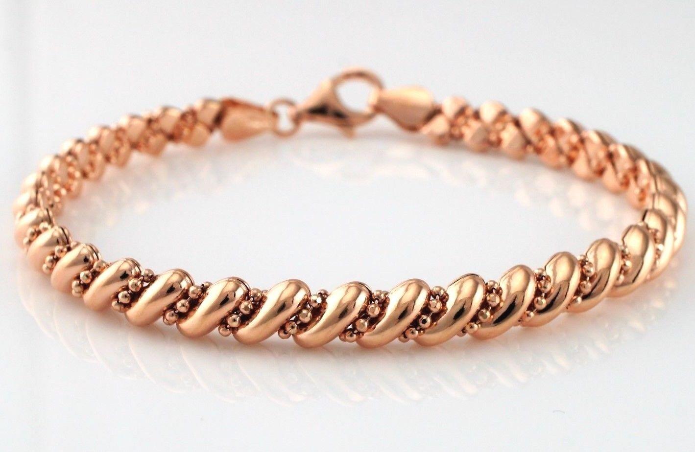 rosa oro oro oro PLATED 925 argentoo Sterling San Marco Stile Braccialetto 7.5  c40a65
