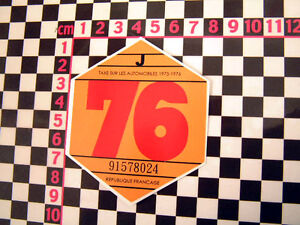 1976-French-Tax-Disc-Citroen-2CV-Dyane-HY-Van-DS-Ami-8-Renault-4CV-4-H-Ripple