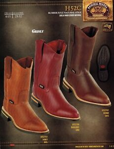 59d55579bbe Details about Original Michel King Exotic Men's H52C Grisly Leather Cowboy  Western Work Boots