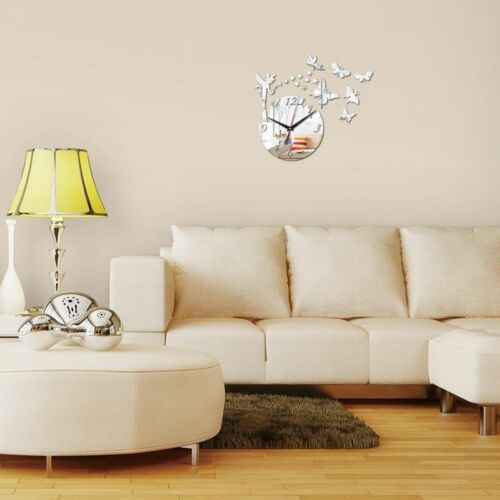Mirrored Wall Clock Sticker Fairy Butterfly Living Room Bedroom Decor Wall Decal