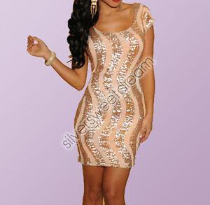 Vestito elegante SEXY corto sera paillettes aderente donna mini ... 7948fcabb4a