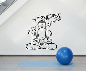 vinyl wall decal buddha sitting lotus pose yoga meditation