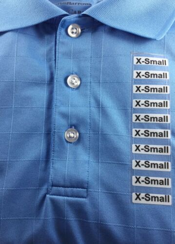 XXS-5XL Clear Clothing Size Strip Labels 1.25 x 5 Inches 125 Strips on a Roll