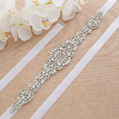 Crystal Bridal Belt Wedding Dress Sash Diamante Trim Applique Beaded Waistband