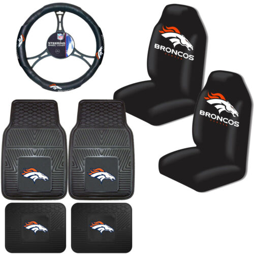 NFL Denver Broncos Car Truck Seat Covers Floor Mats /& Steering Wheel Cover