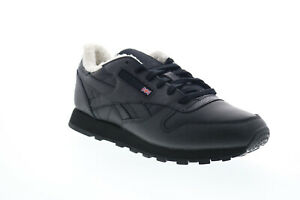 Reebok-Classic-Leather-FU7775-Womens-Black-Low-Top-Lifestyle-Sneakers-Shoes