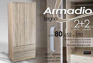 ARMADIO H190*80*52 MODERNO 2 ANTE 2 CASSET ROVERE SBIANCATO LEGNO ...