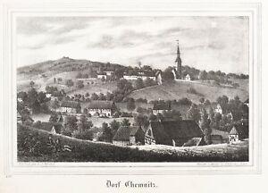 Lithografie 1838 Liberal Dorfchemnitz Bei Sayda Kirchen-galerie Gesamtansicht