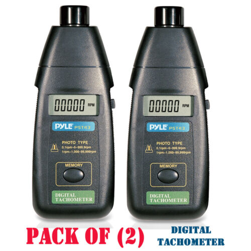 Pack of 2 Pyle PST43 LCD Precision Non-Contact Laser Tachometer W// Extended RPM