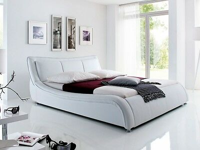 SALVATOR Kunstlederbett Bett Doppelbett Futonbett Kunstleder 180x200 Weiß weiss