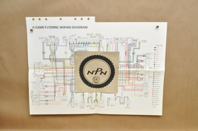 Vtg 1986 Yamaha Fj1200 S Fj1200 Sc Factory Color Schematic