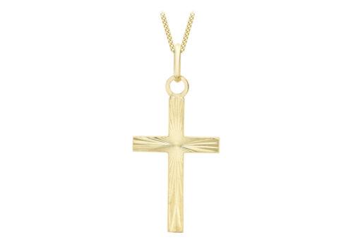 9ct Yellow Gold Diamond Cut Cross Pendant on 18 Curb Chain Inc Luxury Gift Box