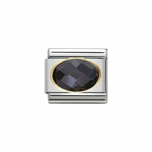 New Genuine Nomination Classic Gold Classic Black Cz Charm 030601011 RRP £29