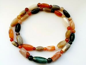 """Vintage 30"""" Natural Stones Agate Beaded Necklace"""