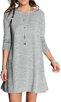 Womens Ladies Long Sleeve Knitted Midi A-line Skater Swing Dress Flared Tea