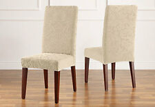 Sure Fit Stretch Jacquard Damask Short Dining Chair Cover Ivory / Oyster