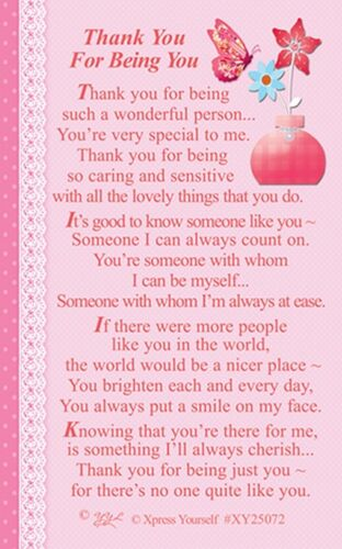 KEEPSAKE WALLET CARD THANK YOU FOR BEING YOU Sentimental Thanks Special Person