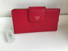 NEW ARRIVAL! FOSSIL SYDNEY TAB INDEXER CLARET RED CLUTCH LEATHER BIFOLD WALLET