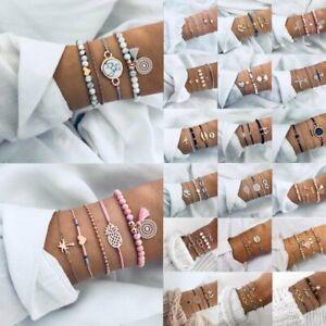 Boho-Women-Jewellery-Set-Rhinestone-Crystal-Beaded-Tassels-Chain-Bracelet-Bangle