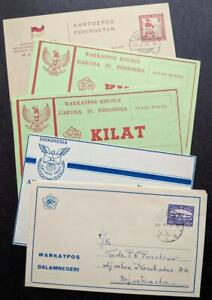 EDW1949SELL-INDONESIA-Scarce-group-of-4-Air-Letters-amp-1-Post-card