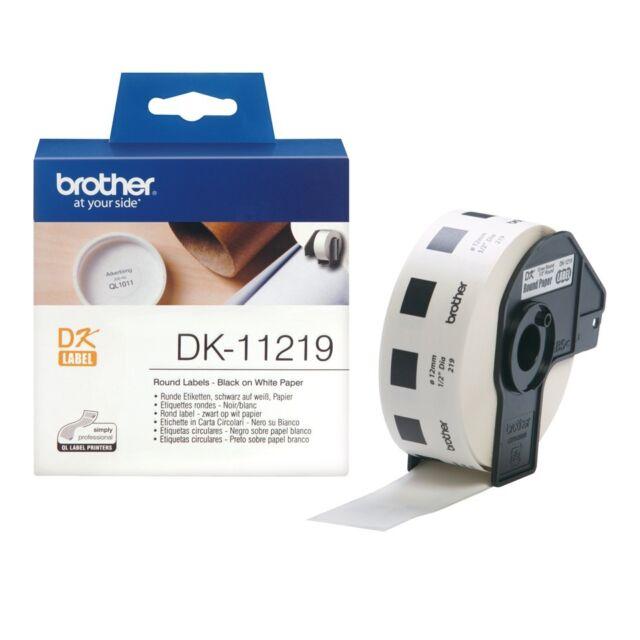 2x Brother Genuine DK-11219 DK11219 White Round label - 12mm diameter