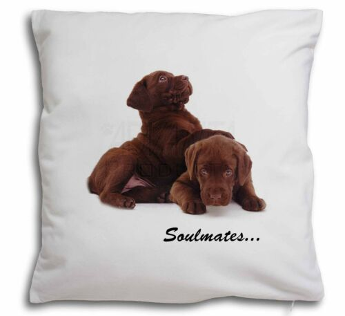 SOUL-38-CPW Chocolate Labrador Dogs /'Soulmates/' Soft Velvet Feel Cushion Cover