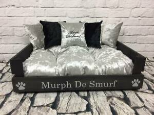 BLACK-FRAMED-dog-BED-WITH-SILVER-amp-BLACK-5-CRUSHED-VELVET-CAN-BE-PERSONALISED