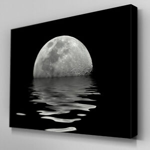 C064 Black White Ocean Moon Canvas Wall Art Ready To Hang Picture