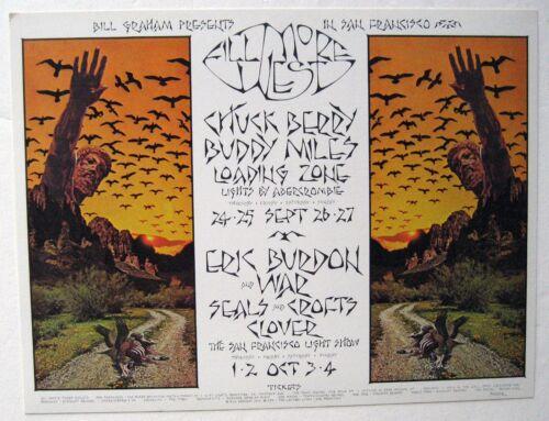 1970 ERIC BURDON CHUCK BERRY BILL GRAHAM FILLMORE DOUBLE SIZE POSTCARD BG 250