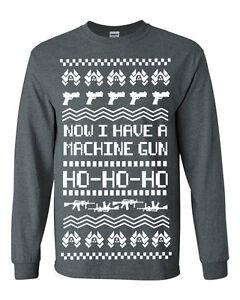 533 Machine Gun Ho Ho Ho Ugly Christmas Sweater Long Sleeve Shirt