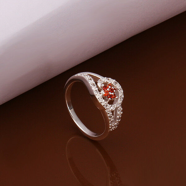 NEW 925 Sterling Silver Plated Fashion Ring Red Zircon Crystal Flower Size 8