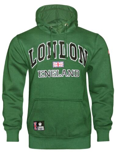 16 Sessanta Verde da Uomo Londra Inghilterra ricamato Casual Pullover Felpa con Cappuccio